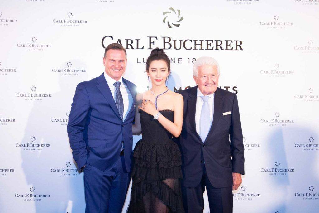 (From left) Sascha Moeri, Li BingBing and Joerg G. Bucherer at the 130th Anniversary gala dinner
