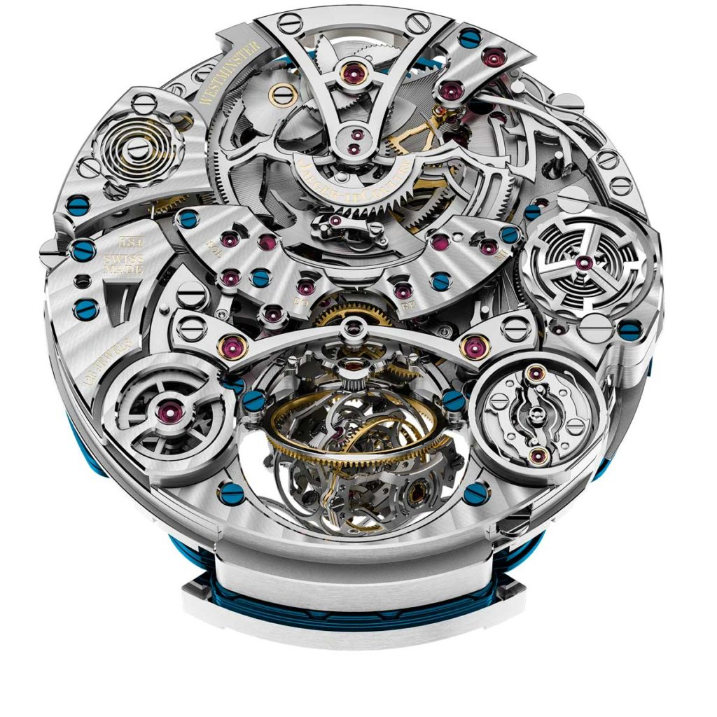 The back of the Jaeger-LeCoultre Calibre 184 powering the Master Grande Tradition Gyrotourbillon Westminster Perpétuel