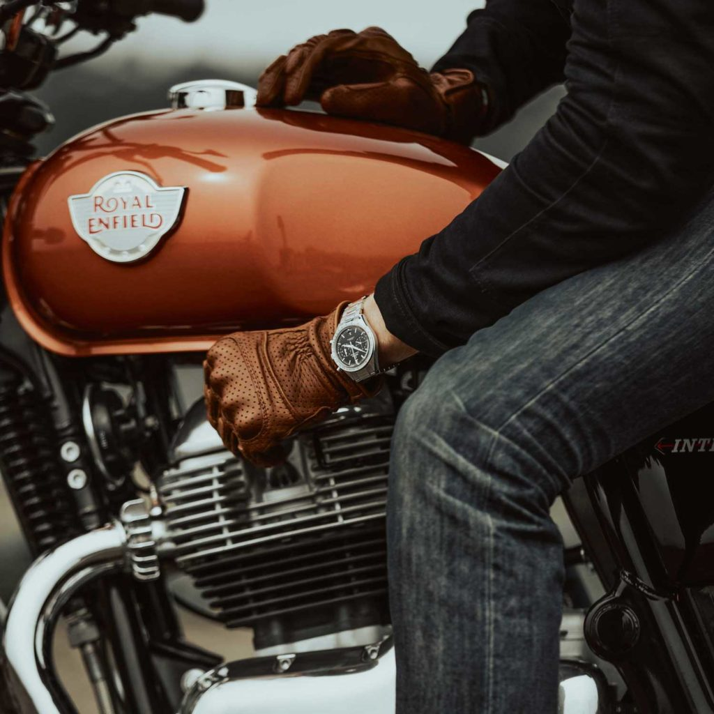 Hugh Francis Anderson prepares to embark on the innaugral ride of the new Royal Enfield 650 Twins – armed with the trusty Omega Speedmaster '57