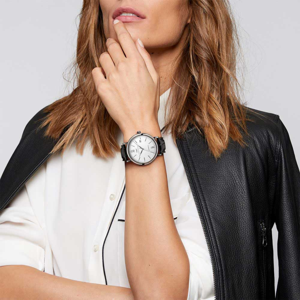 Portofino showcased with female model on IWC's e-commerce website