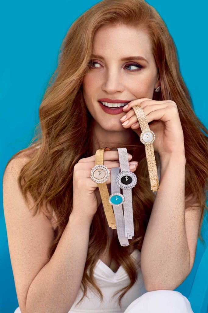 Brand ambassador Jessica Chastain recreates the famous 1960s poster