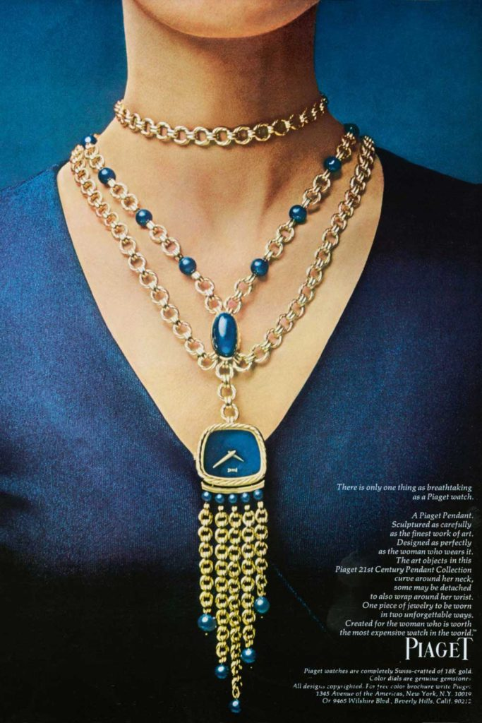 Vintage advertisement featuring lapis-lazuli and gold pendant watch
