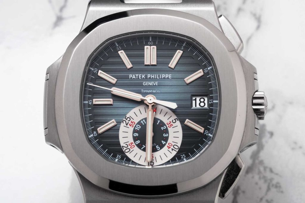 Close-up of Patek Philippe Nautilus ref. 5980 with Tiffany stamped dial (Image © Revolution)