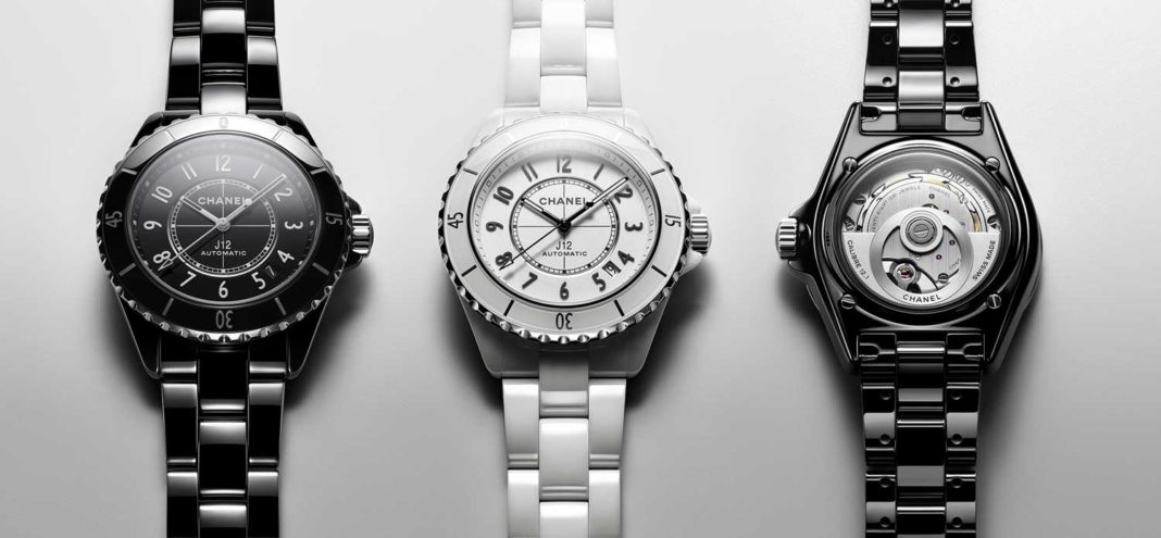 The new J12 in black and white ceramic, fitted with the 12.1 calibre