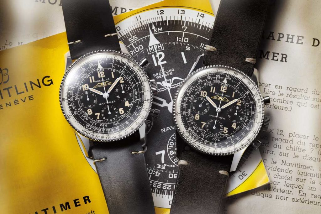 On the left the 2019 Breitling Navitimer Ref. 806 1959 Re-Edition, on the right the original 1959 ref. 806