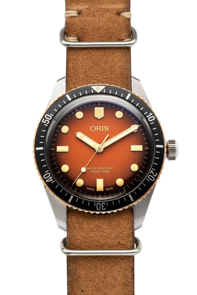 "Oris Divers Sixty-Five ""Honey"" for The Rake and Revolution (Image © Revolution)"