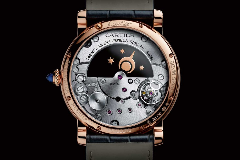 Rotonde de Cartier Mysterious Day & Night in 18k pink gold with moon and sun indicator (back)