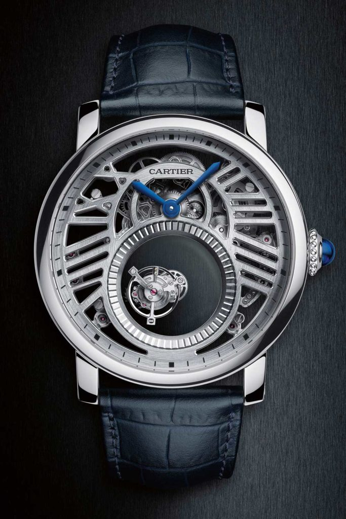 Rotonde de Cartier Skeleton Mysterious Double Tourbillon in platinum