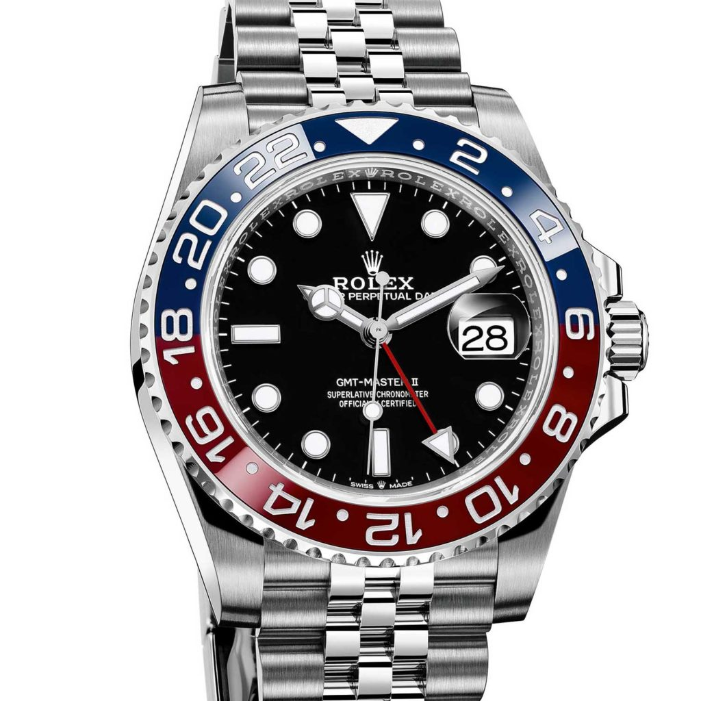 """Stainless steel GMT Master II """"Pepsi"""" with red and blue ceramic bezel"""