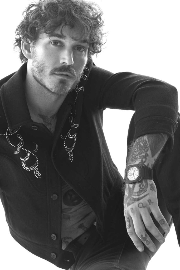 Octo Finissimo Tourbillon Skeleton Carbon. Shirt and jeans by Saint Laurent (Image © Revolution)