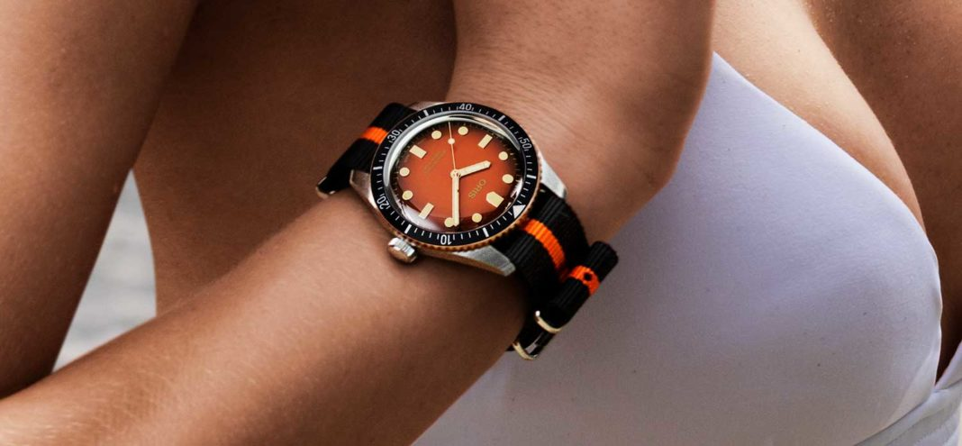 "The Oris x The Rake and Revolution Divers Sixty-Five ""Honey"" in leather strap (Image © Revolution)"