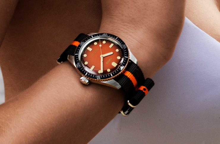 """The Oris x The Rake and Revolution Divers Sixty-Five """"Honey"""" in leather strap (Image © Revolution)"""