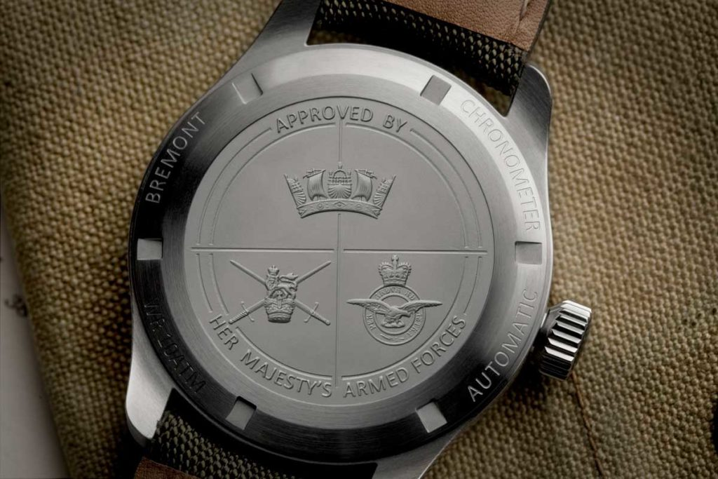"Caseback on the Bremont Broardsword, inspired by the ""Dirty Dozen"" watches"