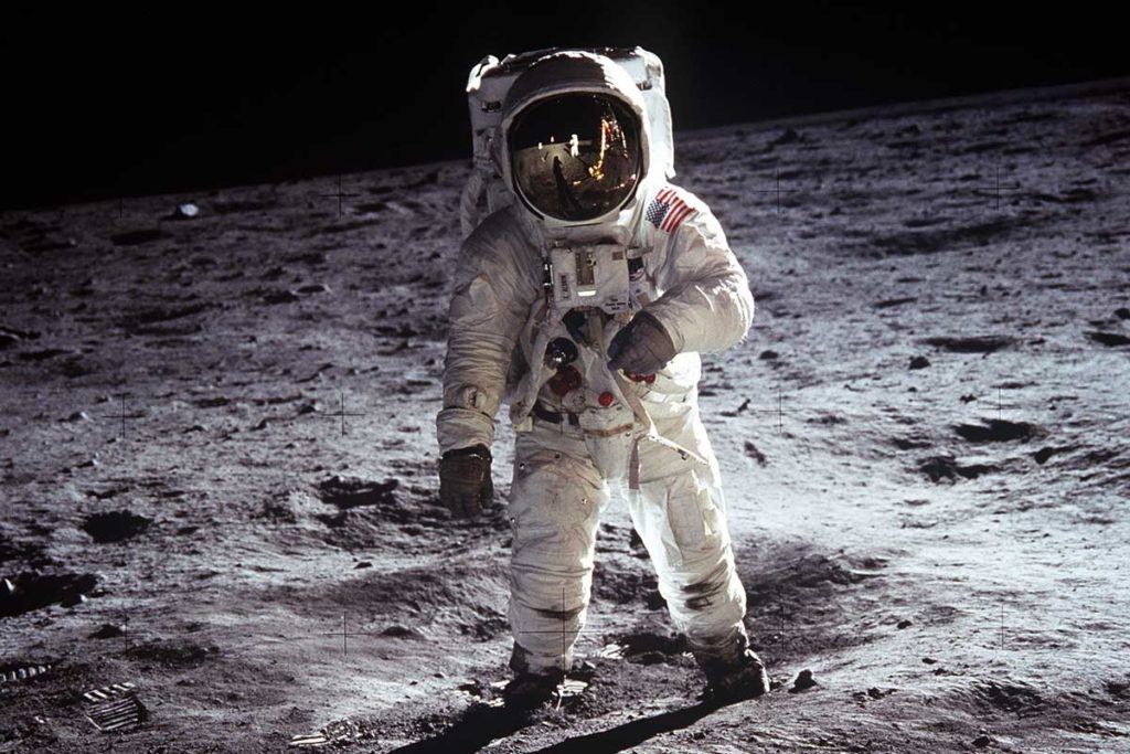 "AS11-40-5903 (20 July 1969) --- Astronaut Edwin E. Aldrin Jr., lunar module pilot, walks on the surface of the moon near the leg of the Lunar Module (LM) ""Eagle"" during the Apollo 11 extravehicular activity (EVA). On his wrist is the Omega Speedmater ST 105.012. Astronaut Neil A. Armstrong, commander, took this photograph with a 70mm lunar surface camera. While astronauts Armstrong and Aldrin descended in the Lunar Module (LM) ""Eagle"" to explore the Sea of Tranquility region of the moon, astronaut Michael Collins, command module pilot, remained with the Command and Service Module (CSM) ""Columbia"" in lunar orbit. (Image: spaceflight.nasa.gov)"