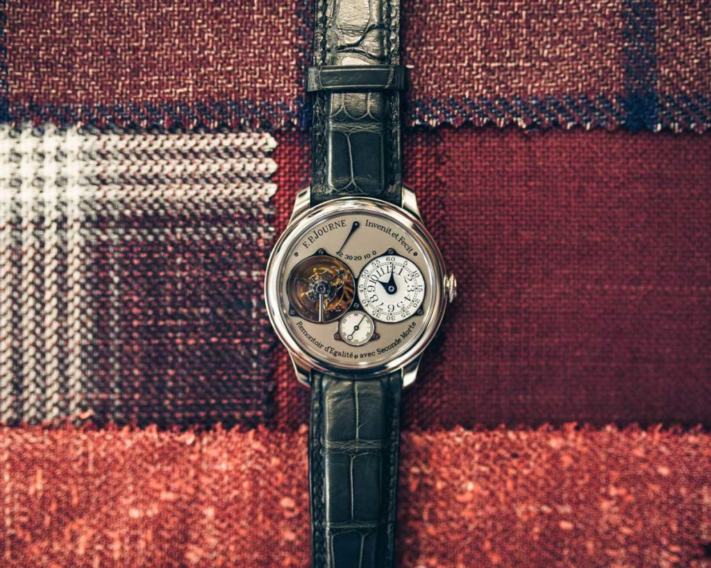 The F.P. JourneF.P. Journe_Tourbillon Souverain Platinum with Grey Dial (Image: phillips.com/watches) Chronomètre Souverain, in platinum