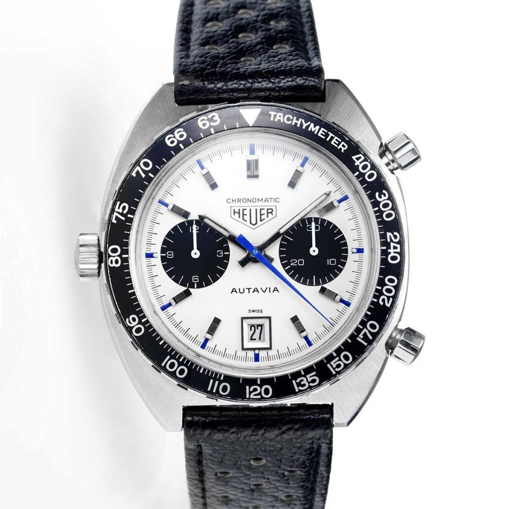 An Autavia ref. 1163T with Chronomatic printed under its Heuer shield, showcasing that the watch was powered by the Chronomatic Calibre 11