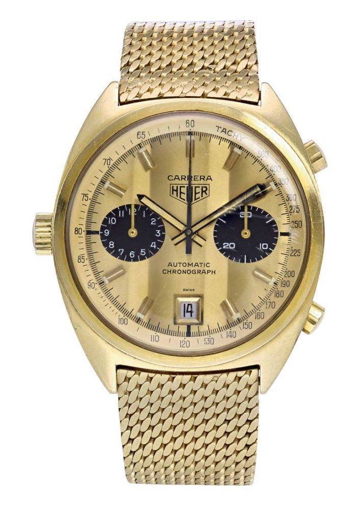 Heuer Carrera Ref. 1158 in 18k yellow gold, with personalised engraving gifted to Ferrari F1 drivers