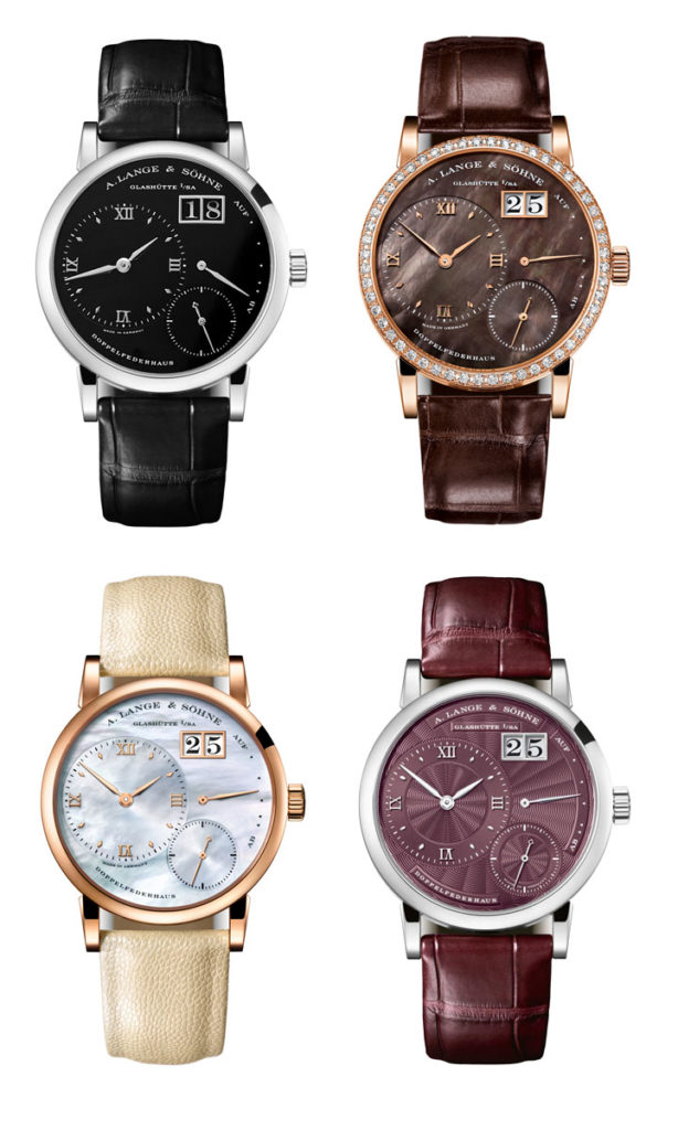Clockwise from top-left: Little Lange 1 in platinum (2000), Little Lange 1 'Soiree' in rose gold (2014), Little Lange 1 with mother-of-pearl dial (2015) and Little Lange 1 with guilloche dial (2018)