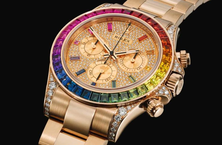 Lot 85: Daytona rainbow, ref. 116595RBOW pink gold diamond and sapphire-set chronograph with diamond, sapphire-set dial and case with bracelet circa 2018