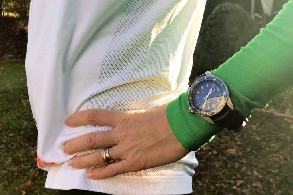 Sophie wearing the calf leather version of Bremont Supermarine Type 300