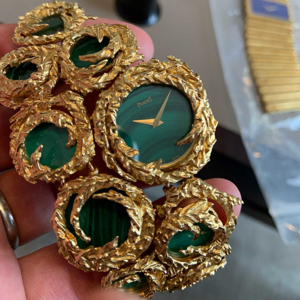 Lot 26: Ref. 924 G 13 yellow gold and malachite cuff watch with malachite dial made in 1973 (Image: Ross Povey)