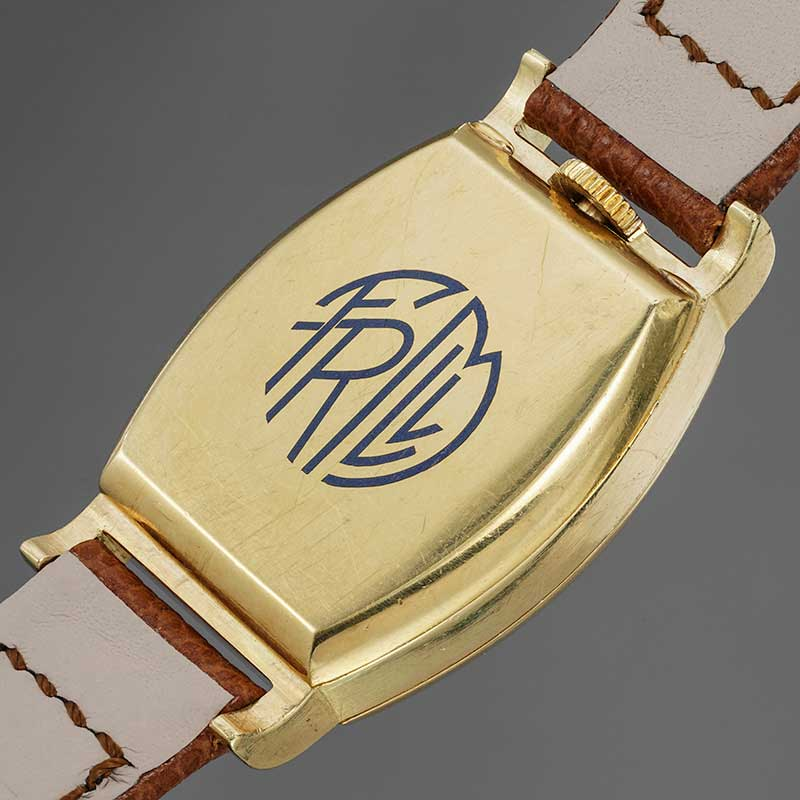 The engraved caseback with the initials of Francisco Martinez Llano