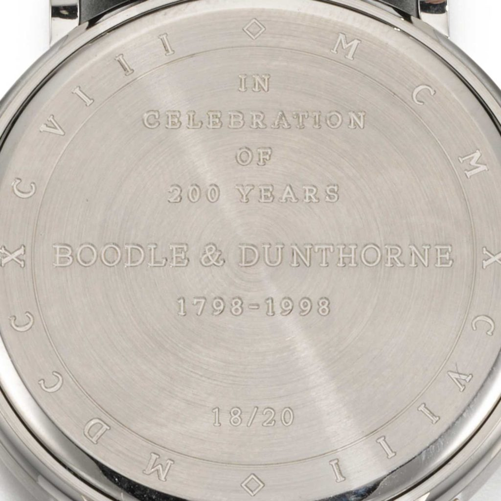 Lot 71: Ref. 5049 limited edition in celebration of 200 years Boodle & Dunthorne, platinum perpetual calendar wristwatch with moon phases and leap year indication made in 1999
