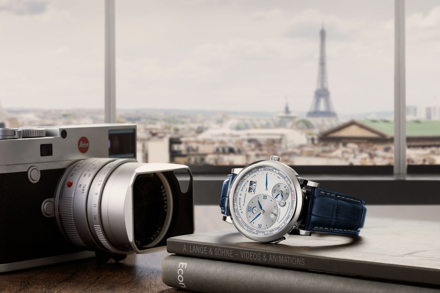 "The Lange 1 Time Zone ""25th Anniversary"" set against Paris (Image © Revolution)"