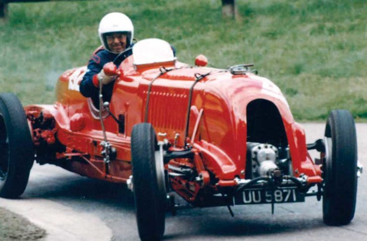 "Daniels driving his ""blower"" Bentley at Prescott Hill"