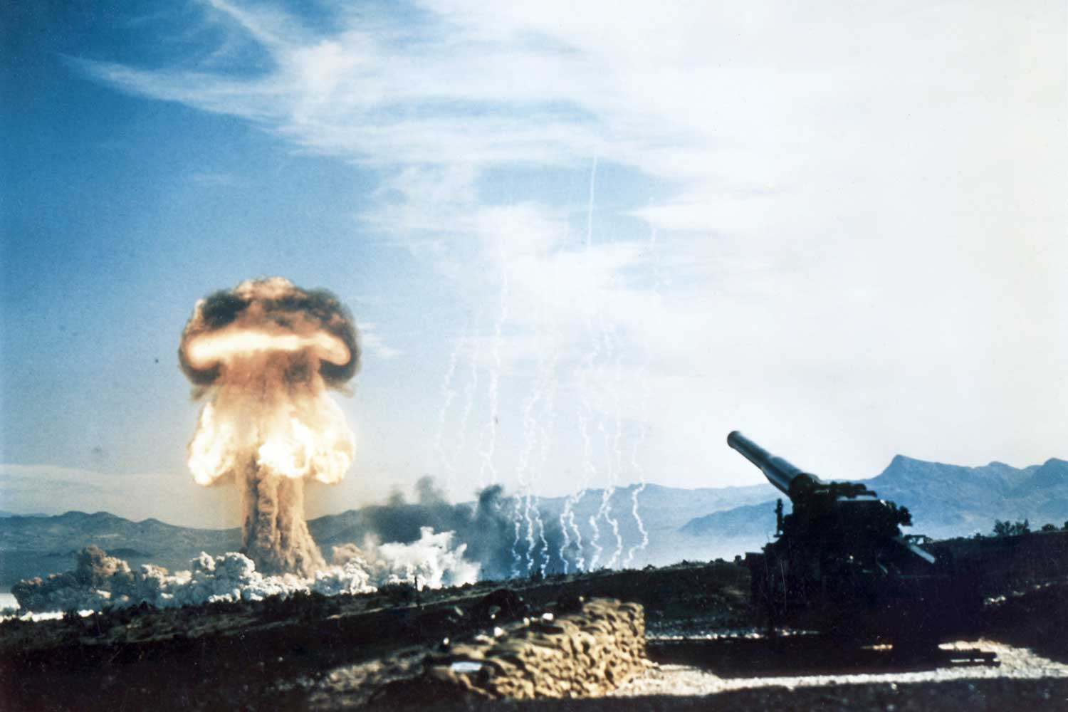 1953 test of a nuclear artillery projectile at the Nevada Test Site, as part of Operation Upshot–Knothole Grable, depicting the explosion of a nuclear artillery shell at a distance of 10 km