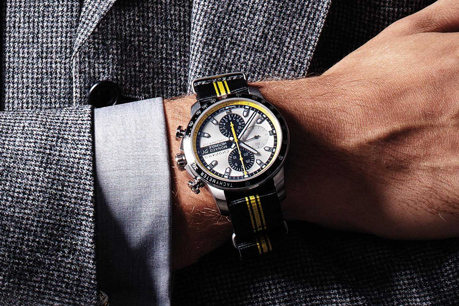 Chopard Grand Prix de Monaco Historique Chronograph with black and yellow 'NATO' strap (Image © Revolution)