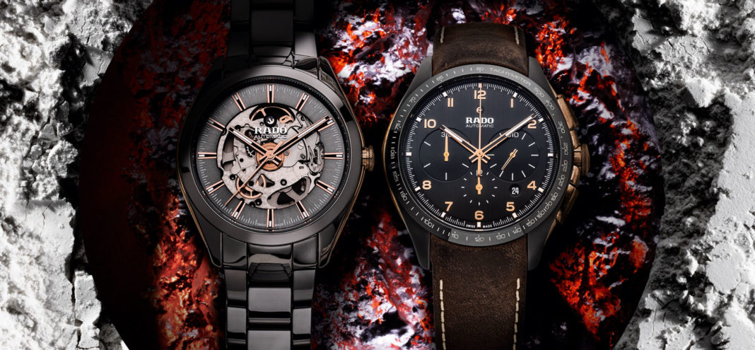 From left: Rado Hyperchrome Automatic Chronograph in high-tech ceramic bronze case and dark brown leather strap; Rado Hyperchrome Automatic Open Heart in plasma high-tech ceramic case and plasma high-tech ceramic bracelet (Image © Revolution)