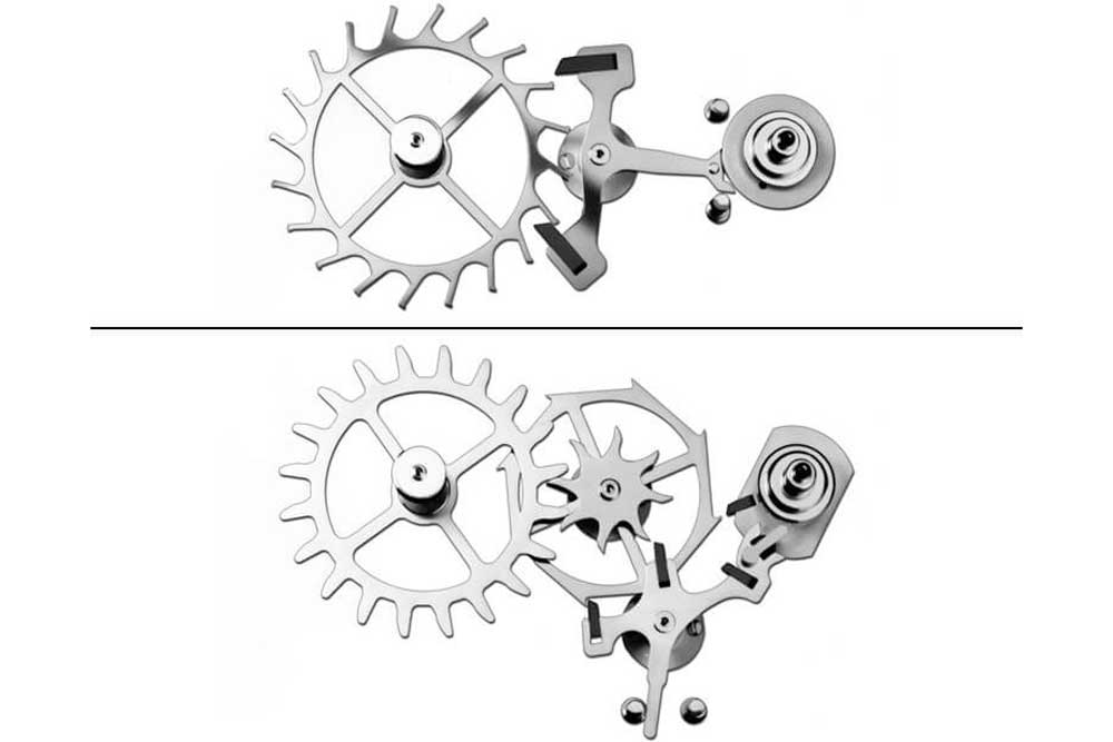 Swiss lever escapement (top) and Co-Axial escapement (bottom)