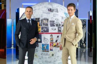 Raynald Aeschlimann and Eddie Redmayne at the Planet Omega exhibition