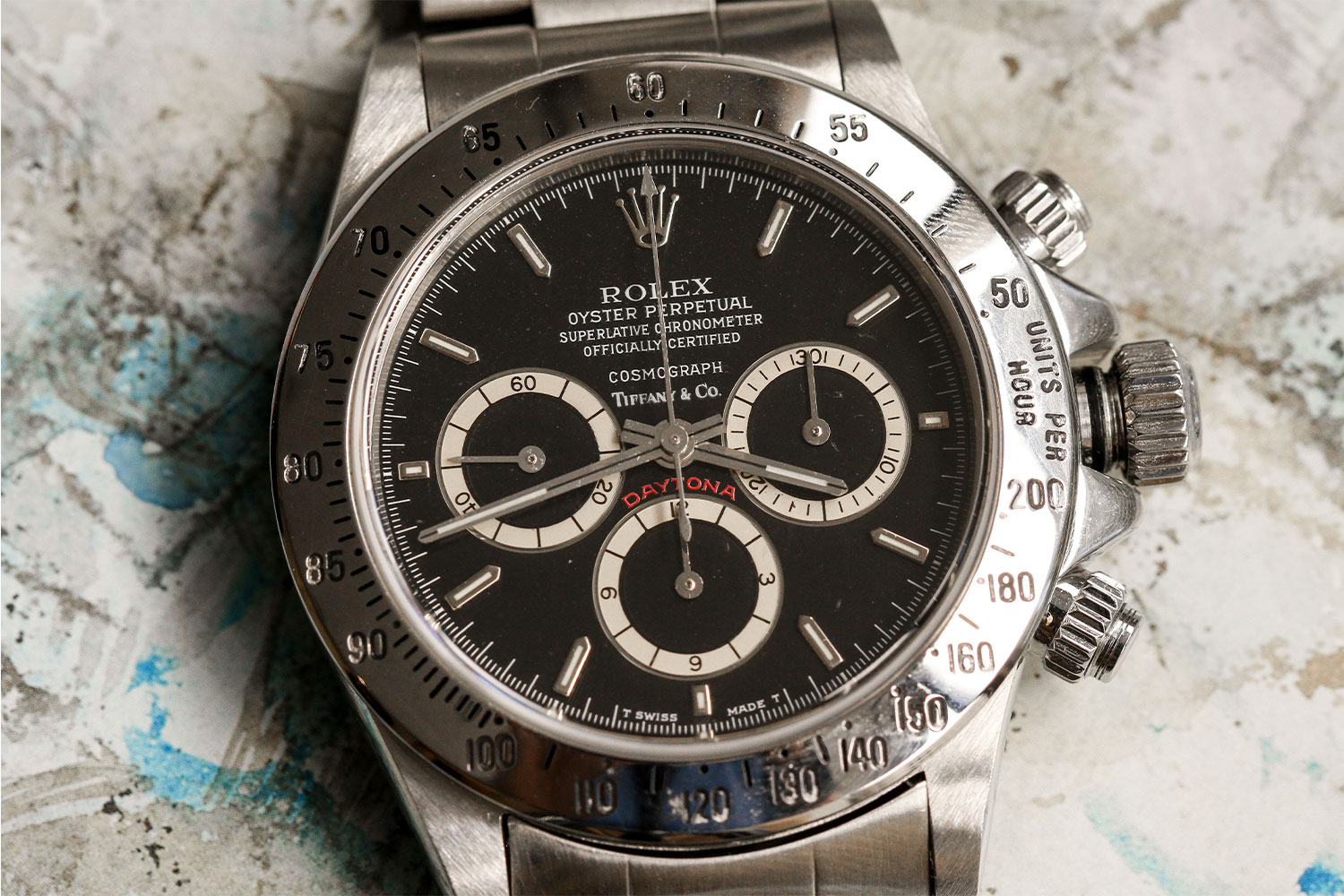 """Lot 1153 – Rolex Daytona """"Floating Cosmograph"""" with Tiffany dial"""