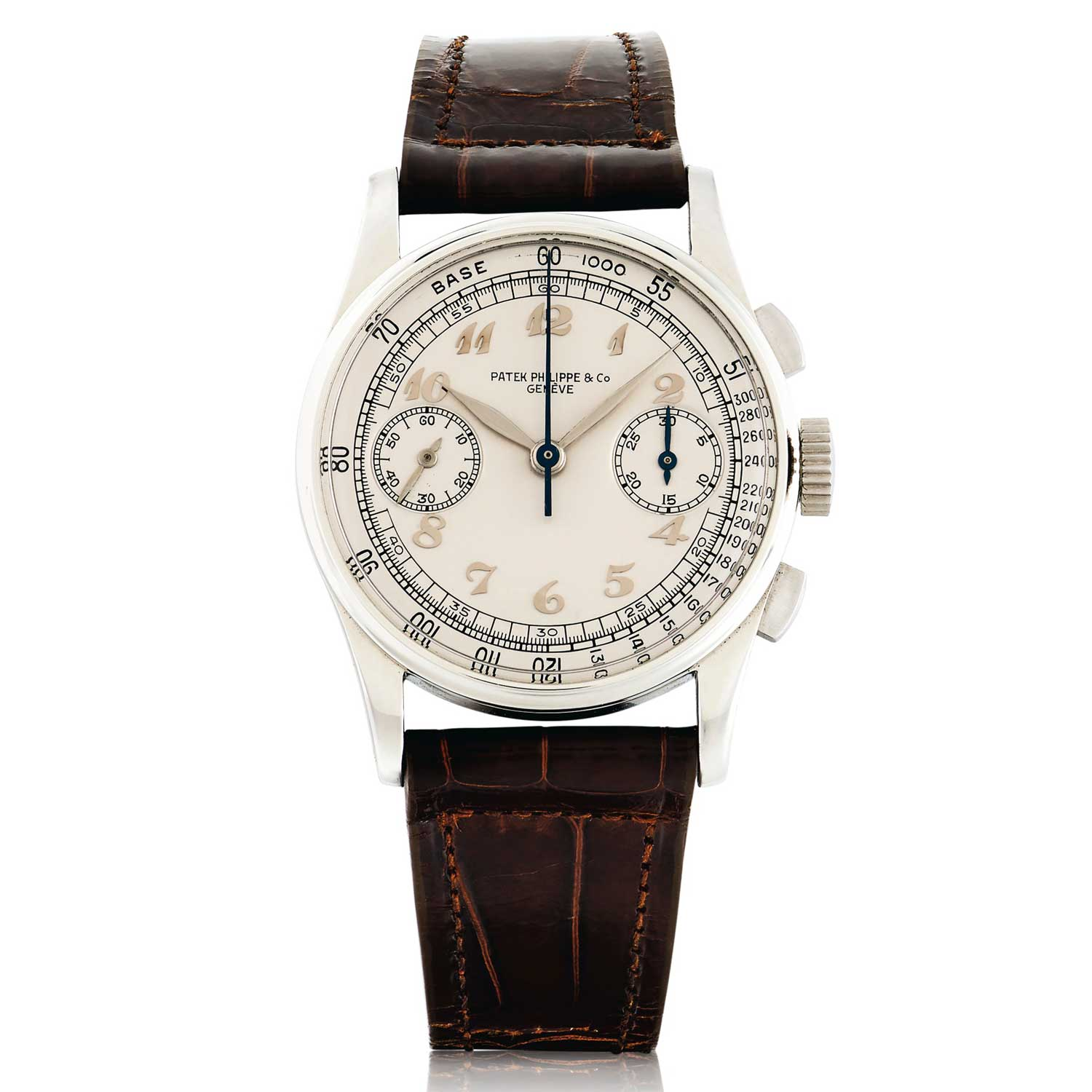 Lot 175: Patek Philippe REF 130 A rare and highly attractive Stainless Steel Chronograph Wristwatch with Breguet Numerals made in 1940