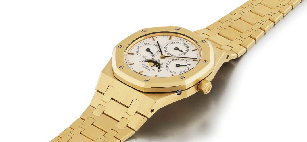 Lot 6: Audemars Piguet Royal Oak, REF 255554BA Yellow Gold Perpetual Calendar Wristwatch with Moonphases and bracelet circa 1986