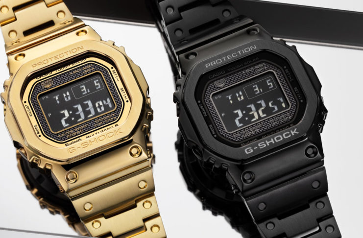 The IP coated gold and black versions of the G-Shock Full Metal 5000 (Image © Revolution)