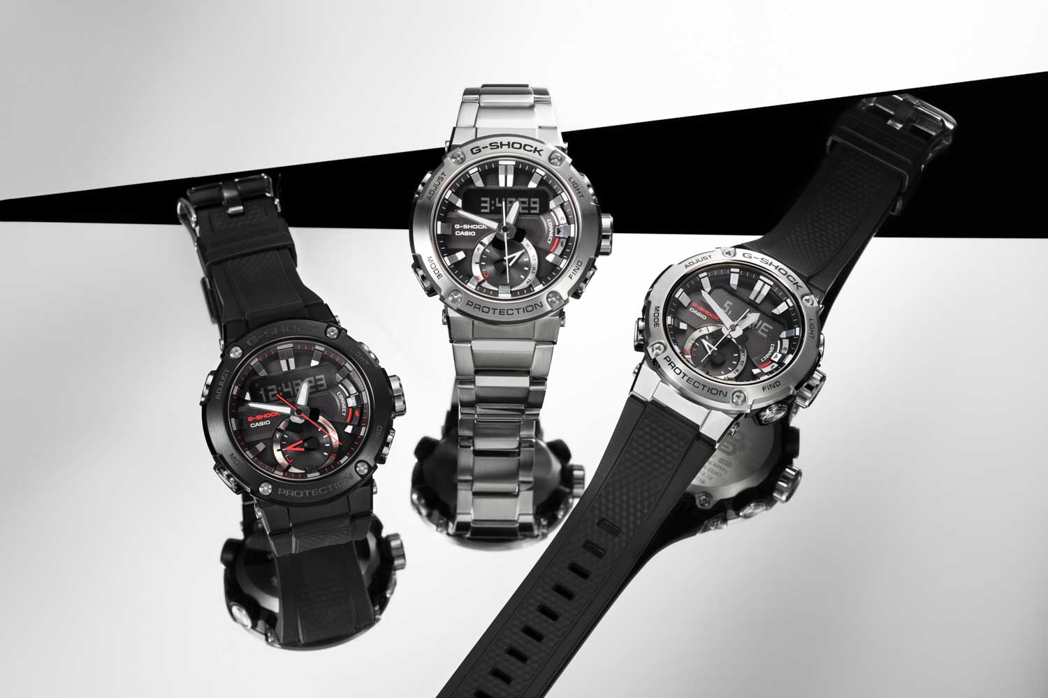 The Casio G-Steel Carbon Core Guard G-Steel BST-200 trio of watches (Image © Revolution)