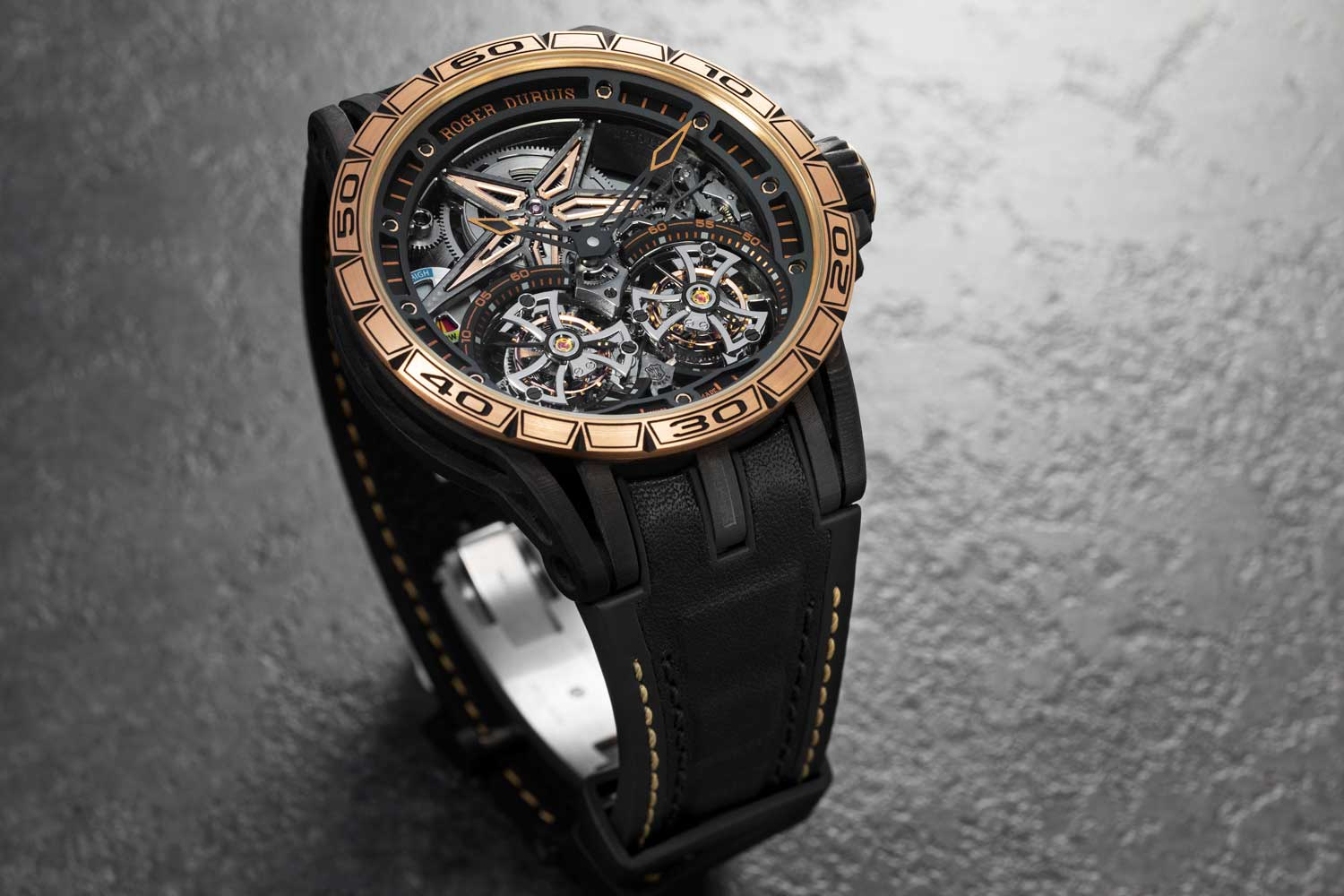 Roger Dubuis Excalibur Spider Carbon and Gold Double Flying Tourbillon (Image © Revolution)