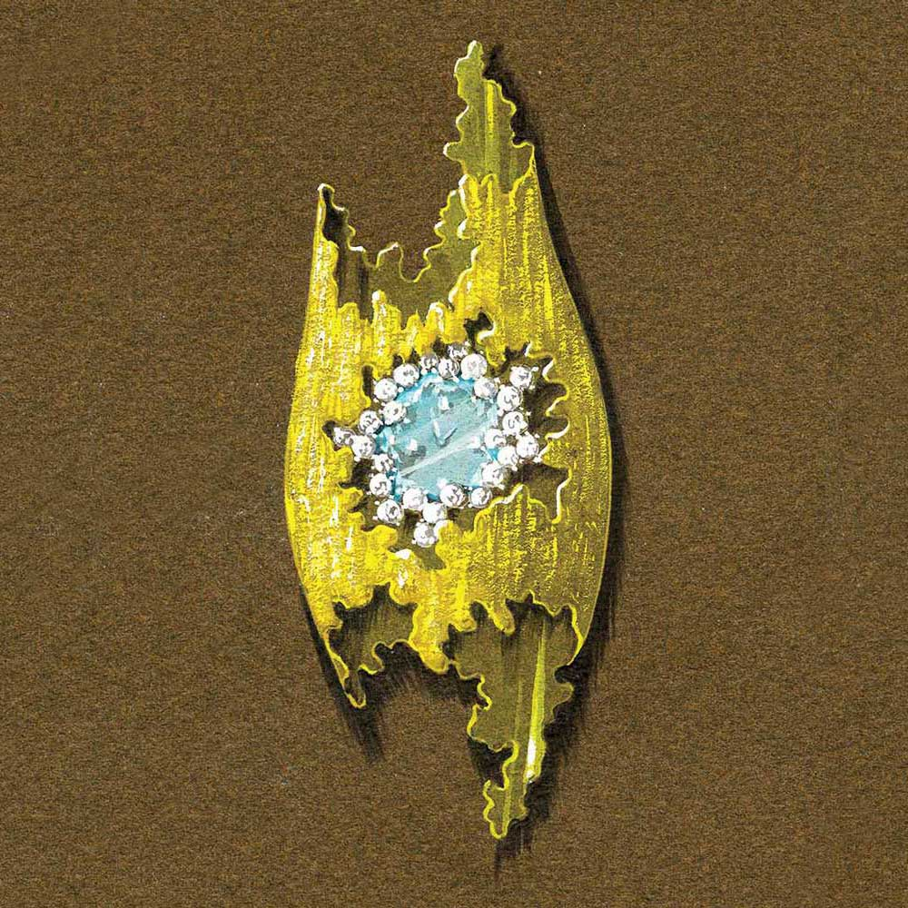 Grima's expertise in casting gold is demonstrated in the Beachcomber watch with gemstone face set as a brooch...