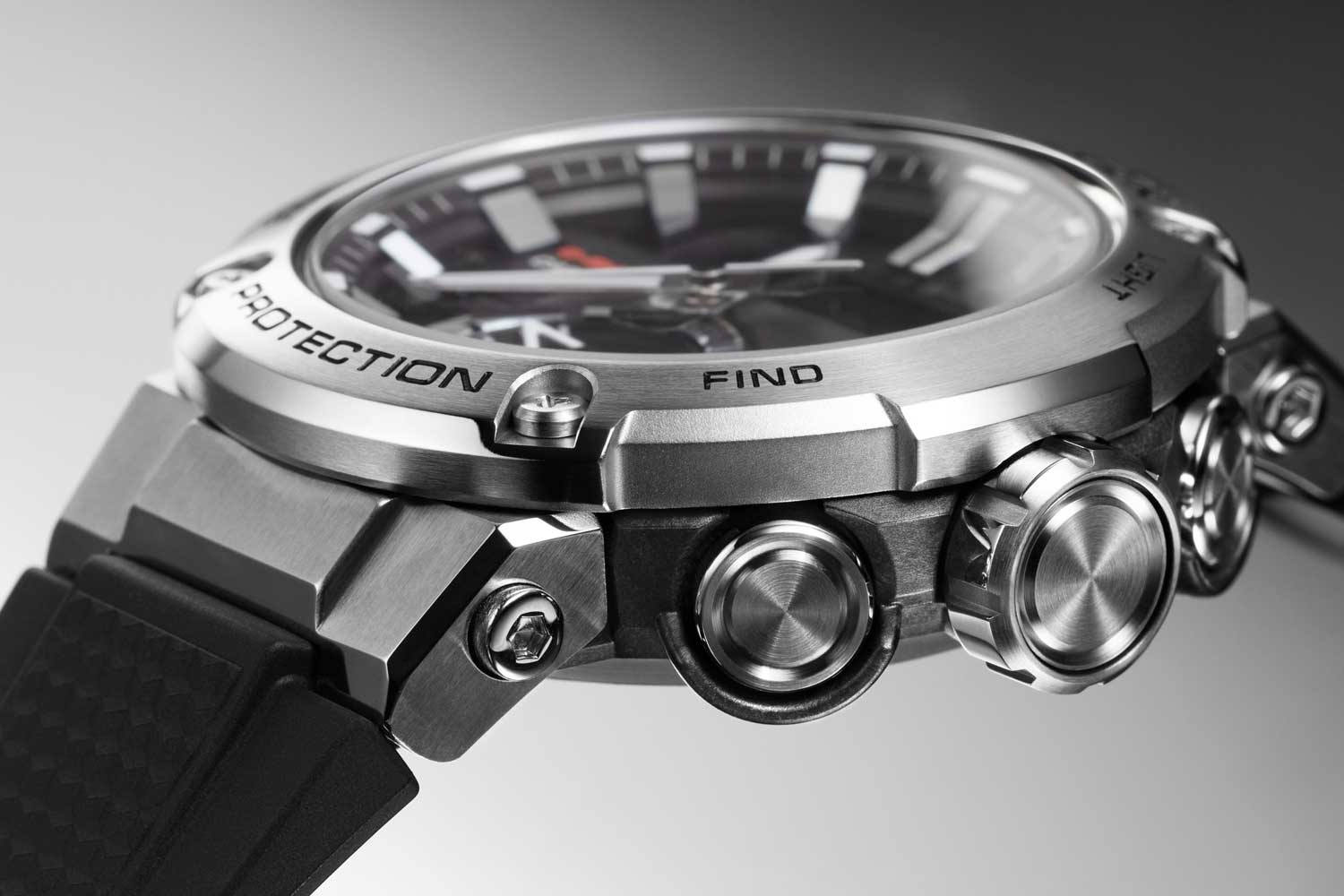 The Casio G-Steel Carbon Core Guard GST-B200 series of watches feature a carbon fiber reinforced mid-case (Image © Revolution)