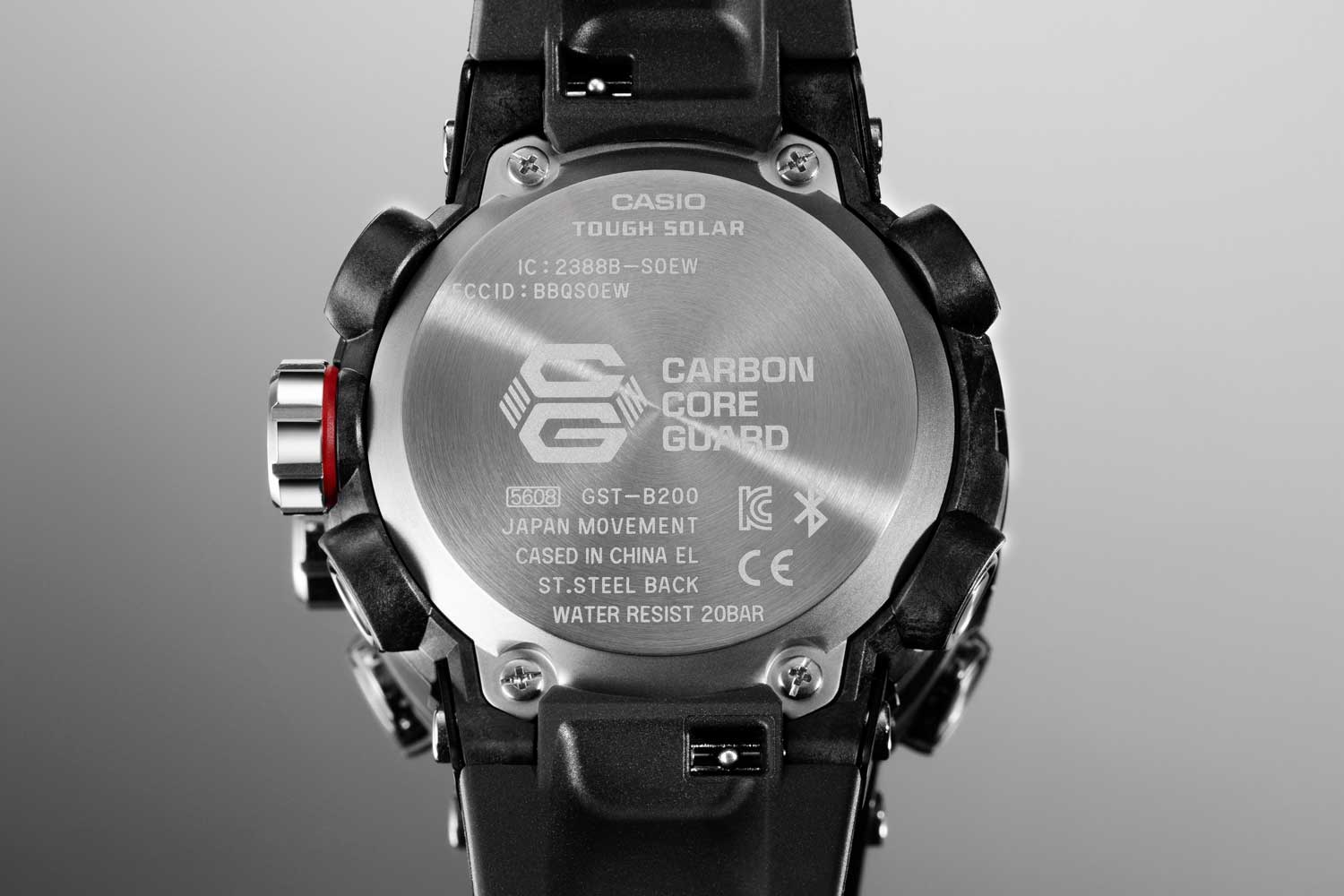 Caseback on the Casio G-Steel Carbon Core Guard GST-B200 series of watches (Image © Revolution)