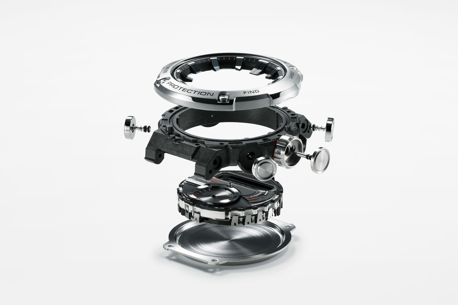 Casio's new shock resistant structure that protects the time modules inside with a carbon fiber reinforced resin case