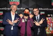 Alec Monopoly with Andrea Soriani, VP of Marketing for TAG Heuer North America (left) and Nicolas Pic, VP of Sales for TAG Heuer North America (right)