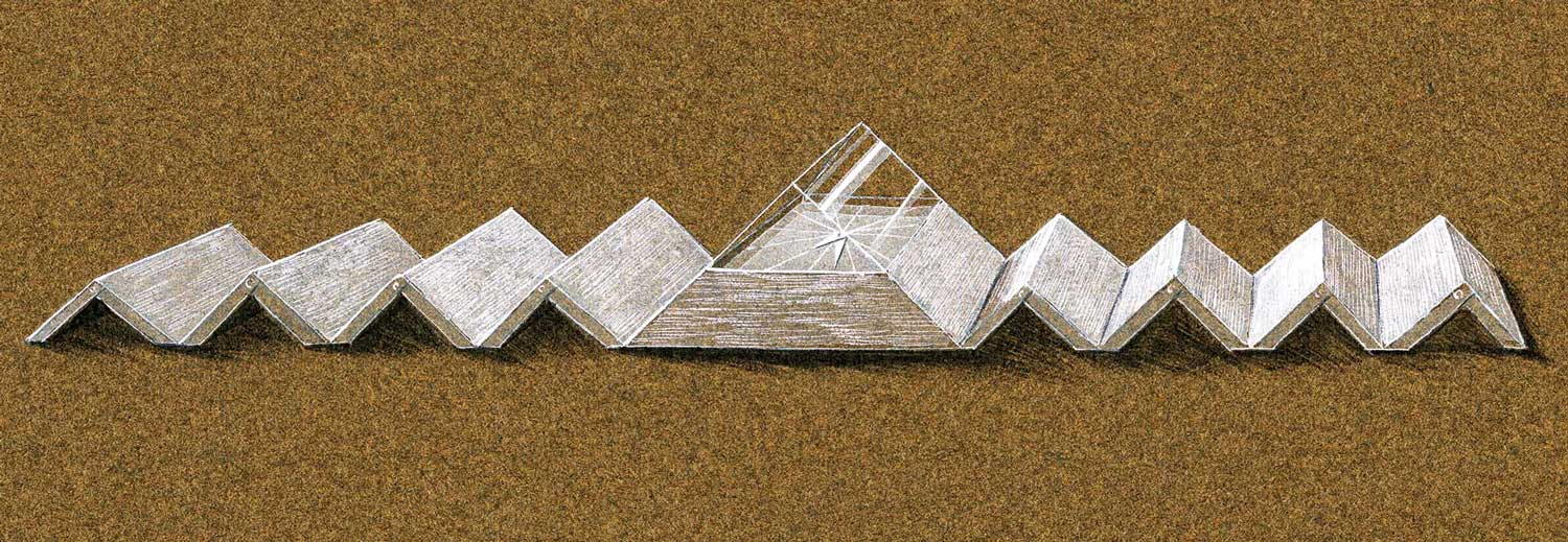 """...Grima sketched Pyramid – a 3D-triangular-cut aquamarine set on a white gold bracelet echoing the watch face – on a Carlyle Hotel menu. The bracelet is exquisitely articulated. As he said in 1970: """"If I am told a design of mine is impossible to do, it makes me want more than ever to do it."""""""