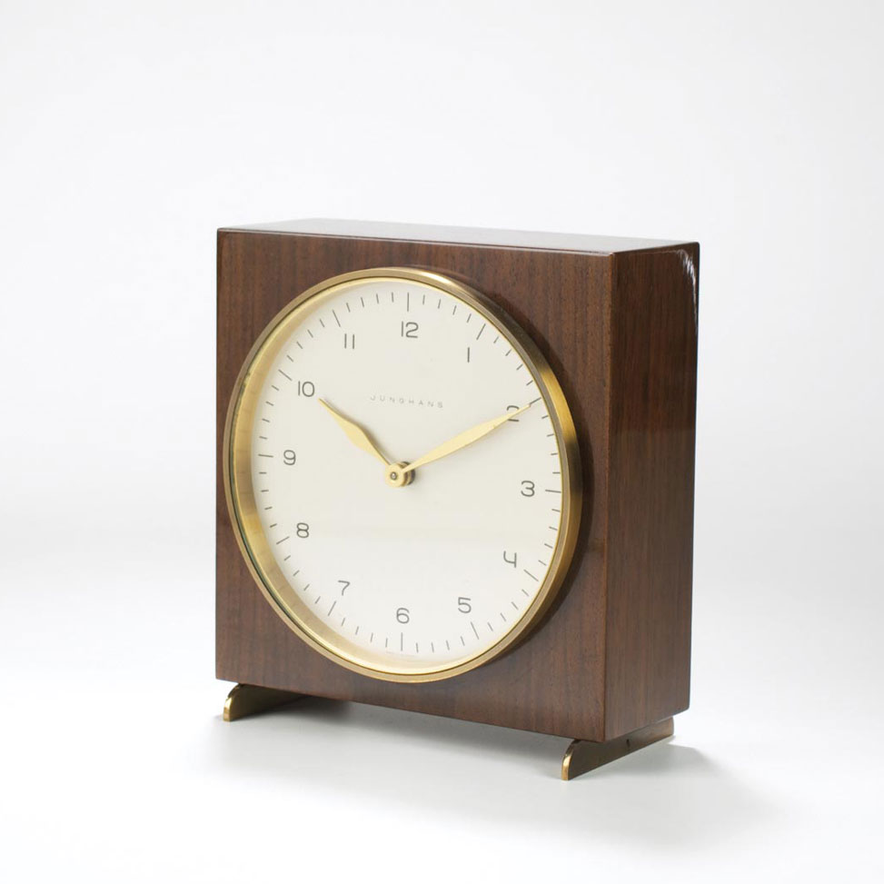 Junghans Max Bill-designed chiming table clock in lacquered wood case