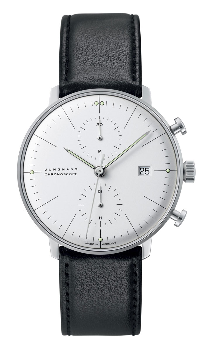 The current Junghans Chronoscope is almost indistinguishable in looks from the 1961 Max Bill original