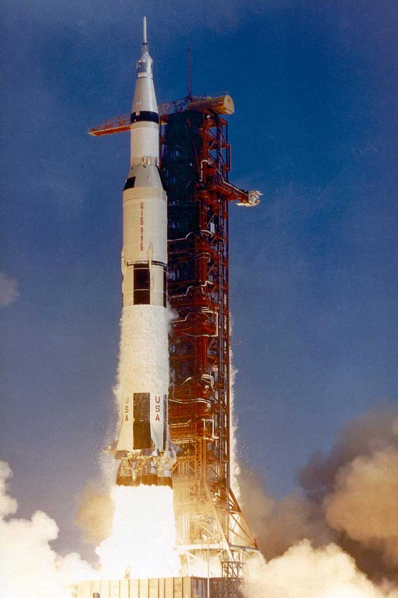 Saturn V launch vehicle (SA-506) for the Apollo 11 mission lifts off on July 16, 1969, from launch complex 39A at the Kennedy Space Center