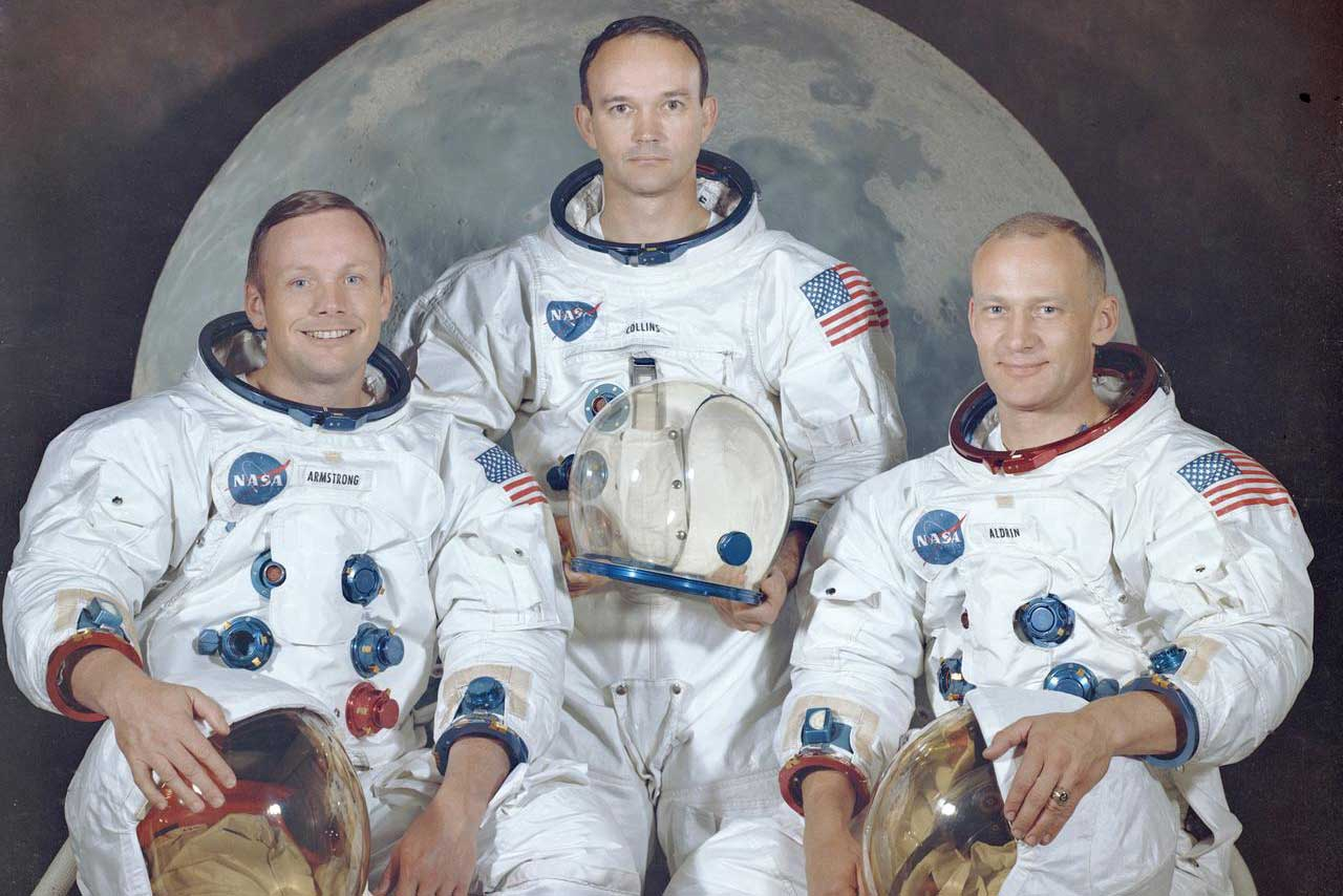 """The crew of the Apollo 11 spaceflight, pictured left to right: Neil Armstrong, Michael Collins and Edwin """"Buzz"""" Aldrin"""
